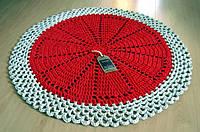 Коврик для пола круглый вязаный красный