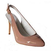 Классические туфли лодочки с открытой пяткой из натуральной кожи бежевого лака