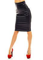 Кожаная юбка-карандаш миди с завышенной  талией  т. синяя
