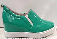 Туфли на танкетке женские высокие лаковые бирюзовые и черные KF0160