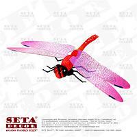 Декоративная стрекоза на магните для украшения штор, цветочных композиций и подарков красная