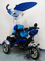 Детский трехколесный велосипед Lexus Trike KR01-А с дополнительной подножкой, надувные колеса, цвет синий