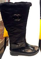 Женские стильные резиновые сапоги высокие CHANEL черные RS0006