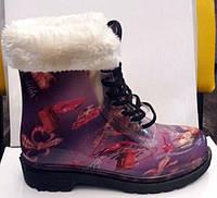 Женские стильные резиновые сапоги-ботинки силиконовые на меху RS0001