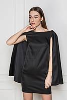 Черное платье с накидкой. Классическое черное платье. Платье мини. Однотонное платье. Платье весна-лето 2016.