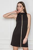 Платье-футляр без рукавов. Платье с воротником. Черное платье. Платье мини.