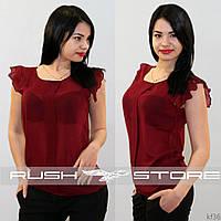 Бордовая шифоновая блузка