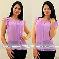 Лиловая шифоновая блузка
