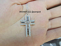 Крестик с камнями из серебра