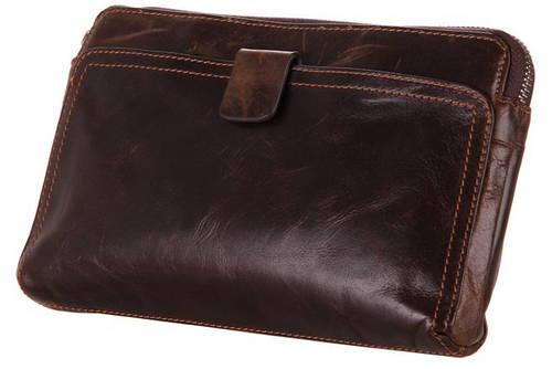 Потрясающий кожаный мужской клатч S.J.D. 8037C коричневый