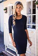Темно-синее платье. Классическое платье. Темно-синее стильно платье. Платье мини.
