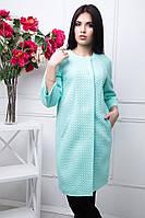 Пальто женское стильное без ворота в мятном цвете LB М-4