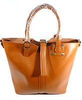 Кожаная женская сумка, саквояж 2 в 1 с клатчем Voee Vodd 60917 коричневая
