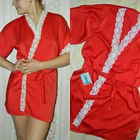 Женский домашний халат из шелка красного цвета с белым кружевом