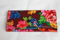 Женский кошелек из искусственной кожи с яркими цветами