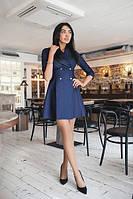 Короткое джинсовое женское платье на запах с пуговицами рукав три четверти