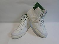 Кеды высокие мужские New Balance бело-зеленые код 92А