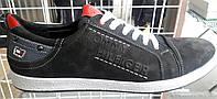 Туфли-кеды мужские Tommy Halfiger натуральный нубук черные TH0001