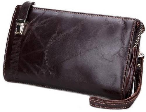 Темно-коричневый мужской кожаный  клатч MS Collection Ms011B