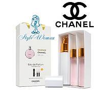 Подарочный набор парфюмерии Chanel Chance Eau Vive Шанель Шанс о Вив женские мини духи 3*15мл