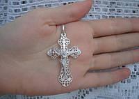 Большой ажурный серебряный крестик