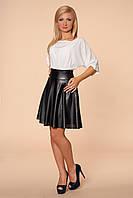 Женское платье с кожаной юбкой размеры 42-48