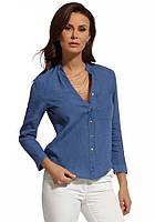 Женская рубашка цвета джинс из льна с длинным рукавом. Модель 210055 Enny, весна-лето 2016.