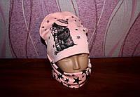 Детская весення шапочка с хомутом ''Звезды'' 1-8 лет 0879