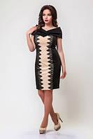 Нарядное женское платье с вырезом анжелика со вставками кружева дайвинг батал