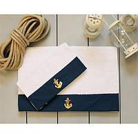 Полотенце махровое Barine - Anchor navy синее 30*50