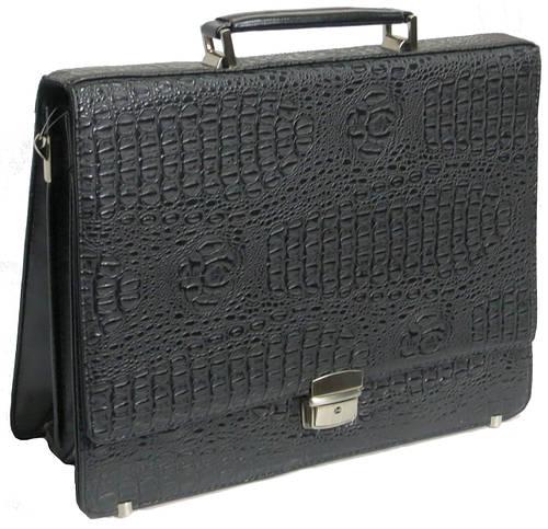 Оригинальный мужской портфель из искусственной кожи под крокодила черный B273 black