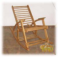 Кресло качалка темное из дерева ТМ КИНД (береза)