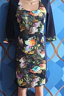"""Платье из плотного дайвинга """"Цветы"""", размеры 44,46,48"""