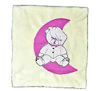 Махровое одеяло детское двухслойное с вышивкой