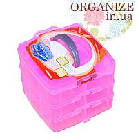 Пластиковый чемоданчик для рукоделия (три яруса) (розовый)