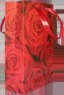 Бумажный пакет с алыми розами