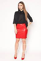 Яркая модная юбка из эко-кожи