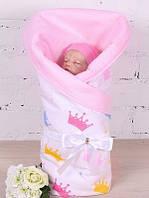 """Нарядный двухсторонний конверт для новорожденных """"Королевский Valleri"""""""
