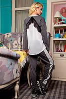 Повседневный костюм, кофта с округлой горловиной, спинка декорирована итальянской шифоном и кружевом, 42-52 р