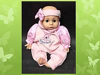 """Кукла """" малыш девочка """" h = 35 см в розовом костюме с подвижными векам"""