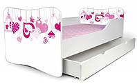 Кровать с ящиком для белья 180х80 сердечки Nobiko