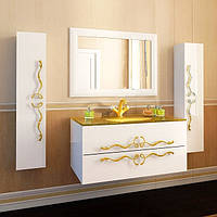 Комплект мебели для ванной Marsan Dominik белый-золото