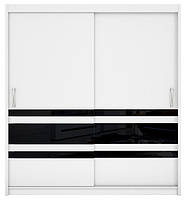 Шкаф - купе Elda черные полосы 200*218 BRW белый / белый
