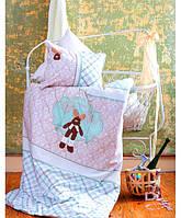 Постельное белье для новорожденных Ранфорс DEAR зеленый Karaca Home