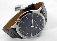 Часы мужские Guardo Classic,  Made in Italy, цвет серебро, синий ремешок, синий циферблат
