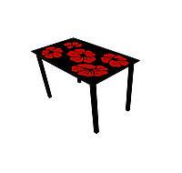"""Стол обеденный стеклянный с деревянными ножками """"Монарх Каркадэ"""""""