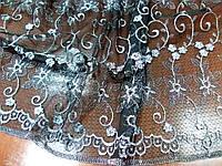 Сетка Вышивка не стрейч (серебро на черном) (арт. 10140)