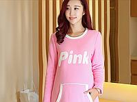 Розовая кофта-туника в спортивном стиле для беременных