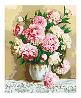 Картина по номерам Роспись на холсте Нежно розовые пионы KH2032 худ. Бузин Игорь