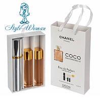 Подарочный набор мини парфюмерии Coco Chanel Mademoiselle Коко Шанель Мадмуазель с ферамонами 3*15мл